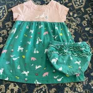 Baby Boden Farm Dress with matching bloomers